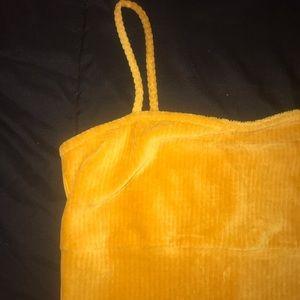 Yellow Velvet Tight Dress
